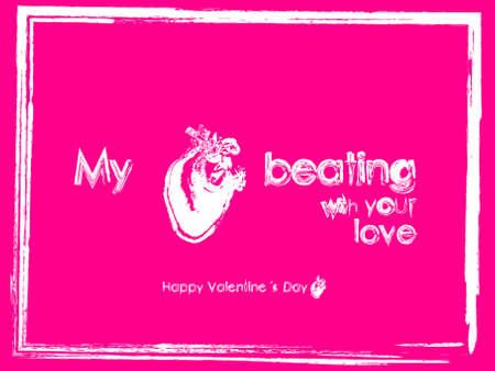 Valentine pink card true heart beating love