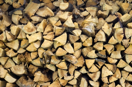 chopped wood for the fireplace Stock Photo