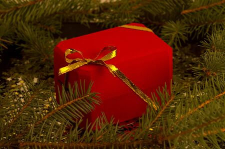 red gift box with gold bow photo