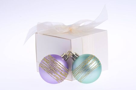 gift box and colorful baubles photo