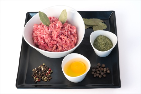 minced meat, egg, colored pepper, bay leaves and allspice