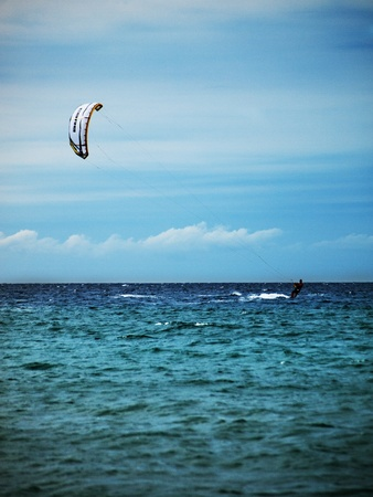 Kite surfing in wave