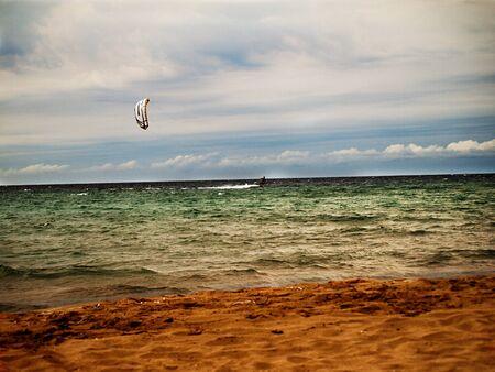 Kite surfing in wave