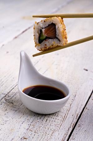 sushi shrimp, gourd, sesame