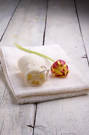 productos de aseo: toallas y art�culos de tocador Foto de archivo