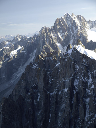View of the Alps from Aiguille du Midi mountain in the Mont Blanc massif in the Alps Stock Photo