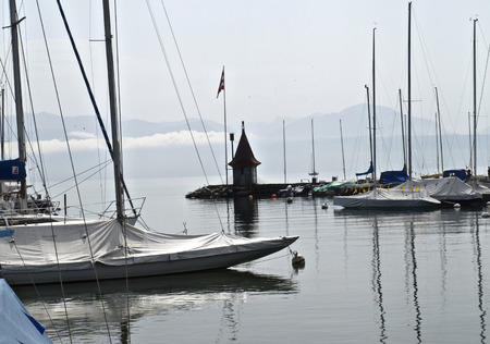 Sailboats at  marina, Lake Geneva, Switzerland  photo