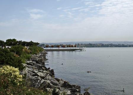 concrete bridge over the Lake of Geneva, Geneva, Switzerland