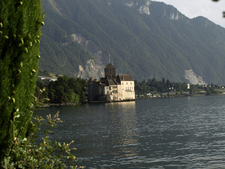 Switzerland, Montreux. Chillon Castle located on the shores of Lake Geneva Editorial