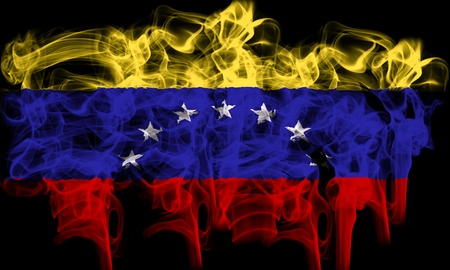 smoking flag of venezuela Stock Photo