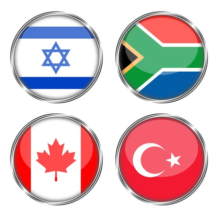 jewish group: button flag of israel, south africa, canada, turkey Stock Photo