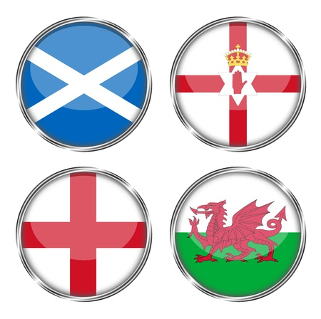 britain flag: button flag of scotland, norther ireland, england, wales