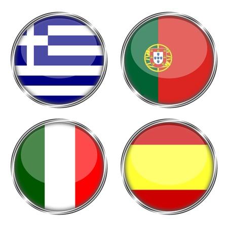 그리스, 포르투갈, 이탈리아, 스페인의 단추 플래그