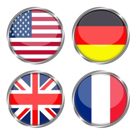 미국, 독일, 영국, 프랑스의 단추 플래그