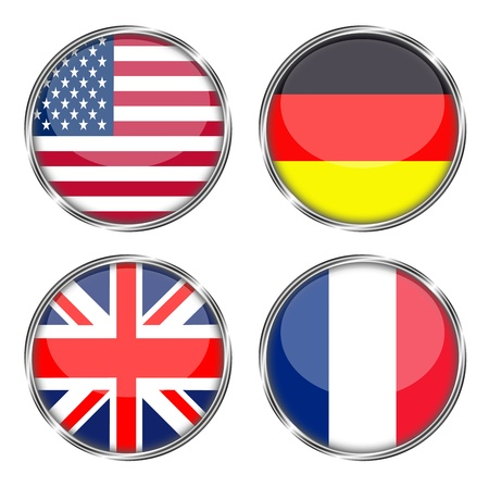 button flag of america, germany, great britain, france