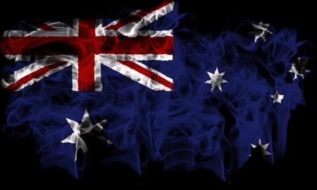 smoking flag of Australia Stock Photo