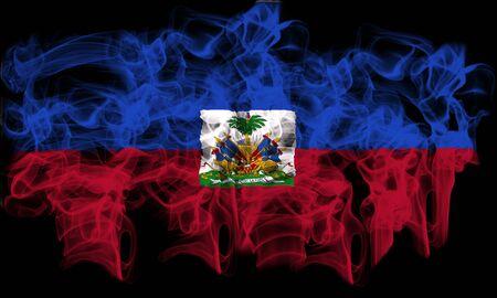 port au prince: fumar bandera de Hait� Foto de archivo