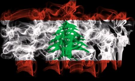 smoking flag of lebanon Stock Photo