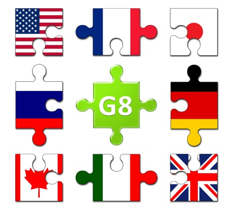 Countries Members of the G8 group  Stock Photo