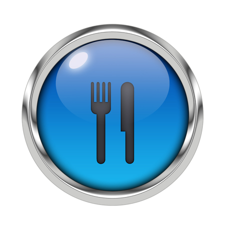 Glossy cutlery icon Stock Photo
