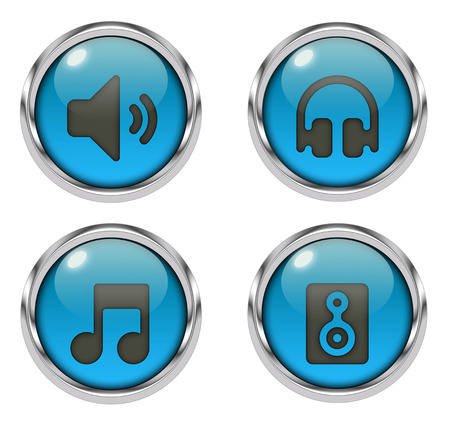 Music sound icons - blue