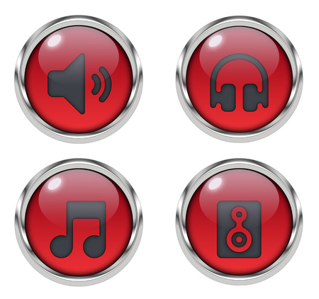 Music sound icons - red
