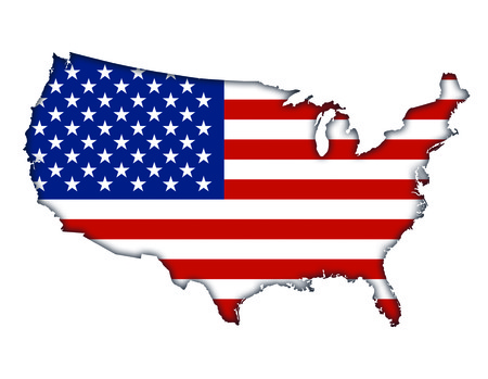American flag banner map icon of USA Stock Photo