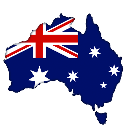 Australian flag banner map icon of Australia Stock Photo