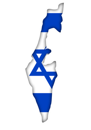 Israel flag banner map plan icon