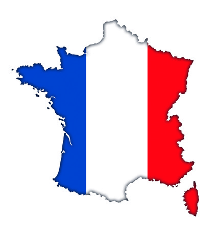 French flag banner map icon of France Stock Photo