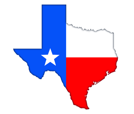 Texas map flag icon banner