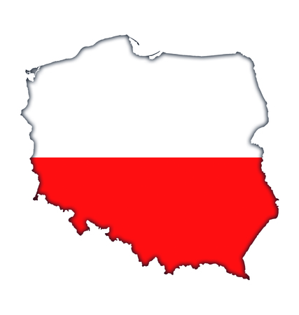 Polish flag banner map icon of Poland