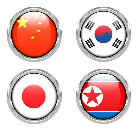 Flags of China, Japan, South Korea, North Korea