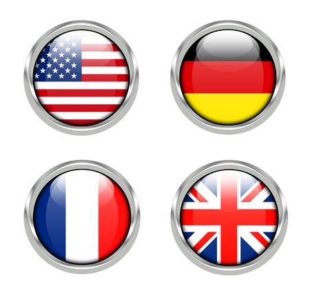 Flags of America, Germany, France and United Kingdom