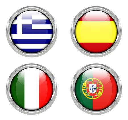 Flags of Greece, Spain, Italy and Portugal Stock Photo