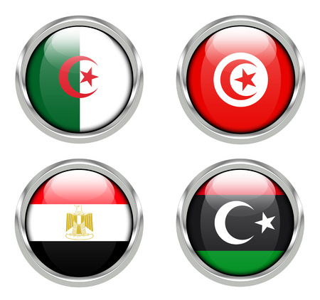 Flags of Algeria, Tunesia, Egypt and Libya Stock Photo