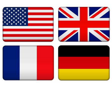 연합 왕국: American, United Kingdom, France and Germany flag banner