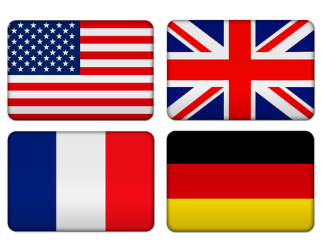 American, United Kingdom, France and Germany flag banner