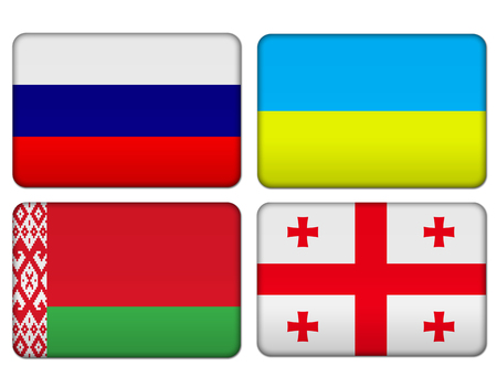 Russia, Ukraine, Belarus, Georgia icon flag button