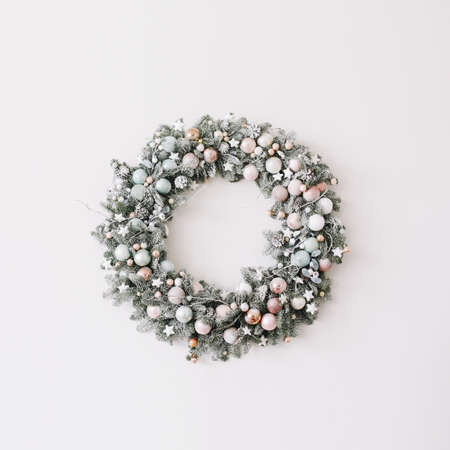 New Year interior.  Wreath of spruce  with garland. Christmas decorations. Holiday concept Stok Fotoğraf
