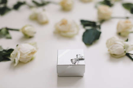 jewelry ring box and white roses. Wedding, Love, Valentines day, Happy Birthday concept