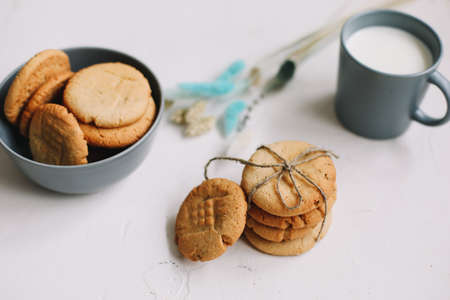 Handmade oatmeal cookies. Traditional freshly baked cookies. Junk-food, culinary, baking and eating concept. Stock fotó
