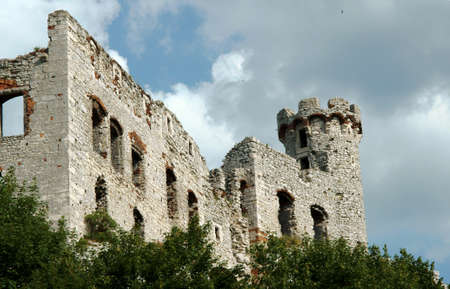 Ruined medieval castle with tower in Ogrodzieniec, Poland photo