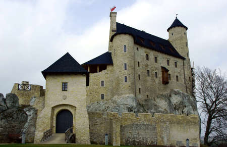 Medieval castle with tower in Bobolice, Poland