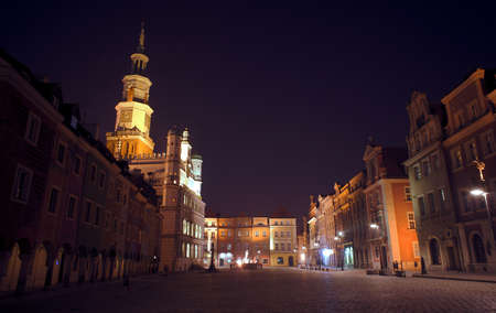 Old Market at night in Poznan, Poland Stock Photo