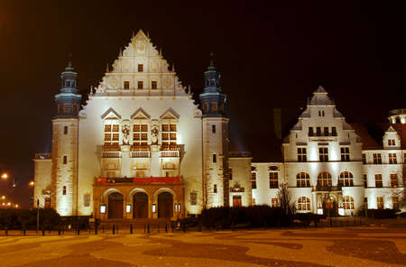 assembly hall: facade assembly hall university in Poznan by night