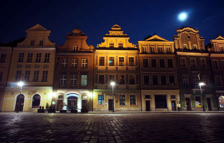 Old Market and moon in Poznan, Poland