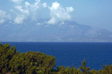 ionian: view to Cephalonia, Ionian Island in Greece Stock Photo