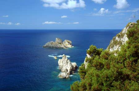 rock on coast at Corfu island, Greece