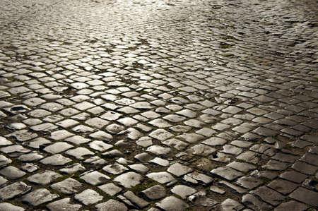cobblestone on street in Poznan Stock Photo
